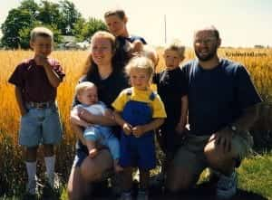 family photo June 1997 wheat field in the background