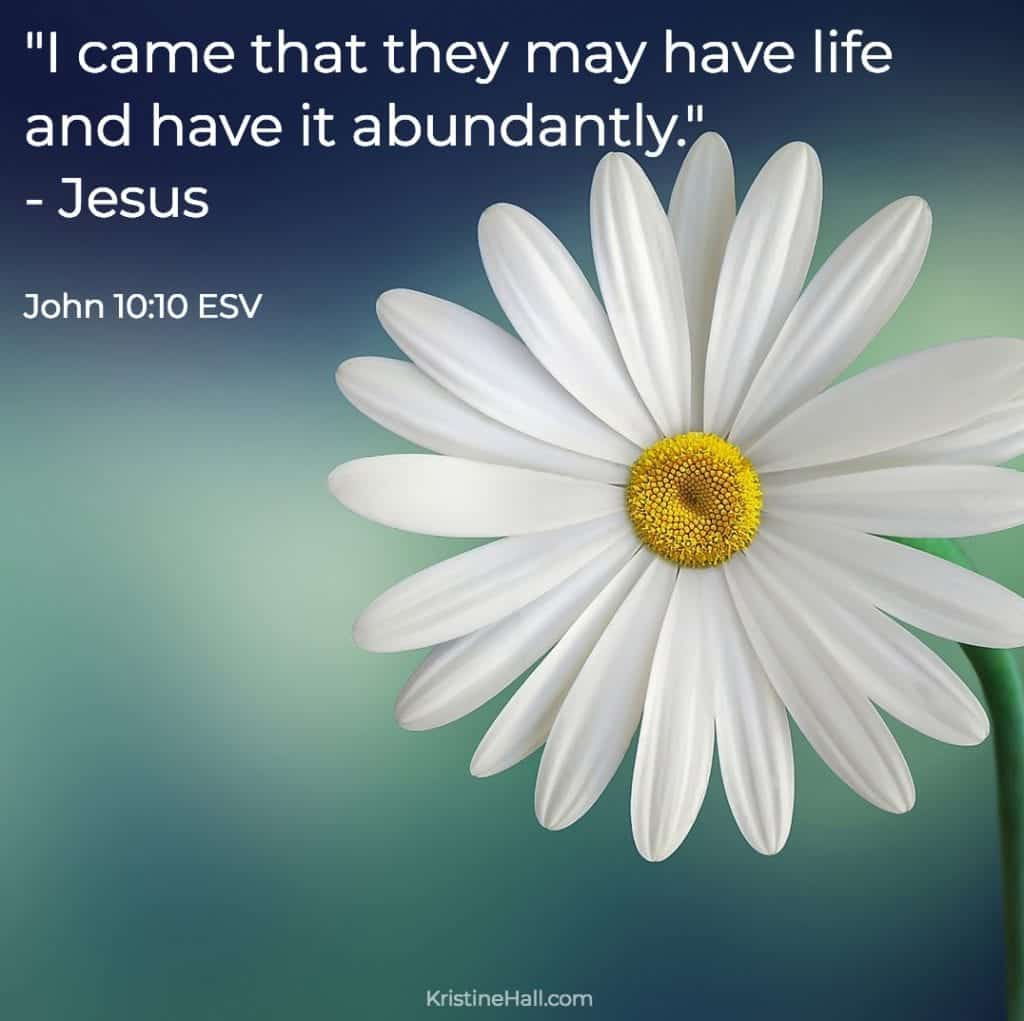 """John 10:10 """"I came that they may have life and have it abundantly."""""""