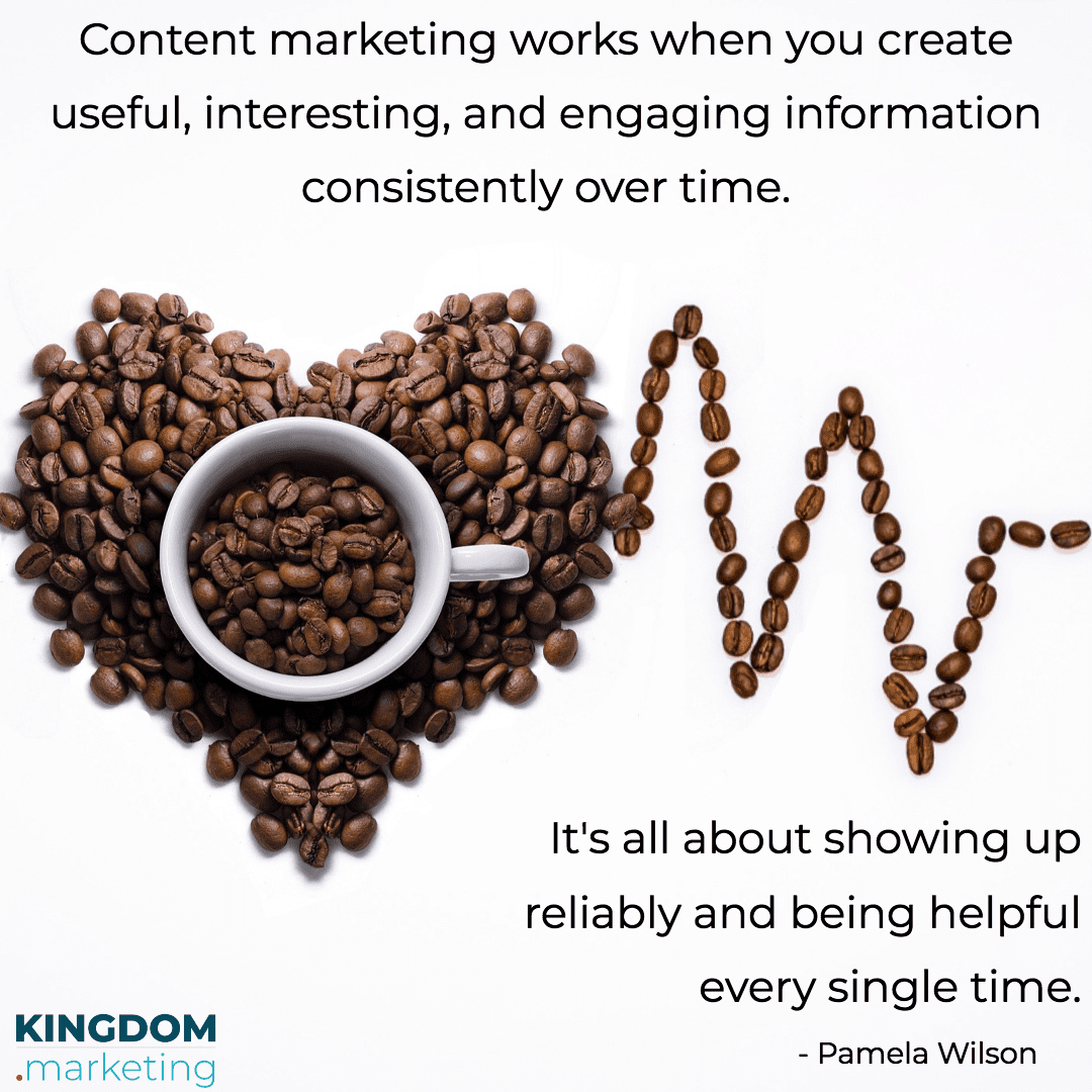 content marketing works when you create useful, interesting, and engaging information consistently over time.