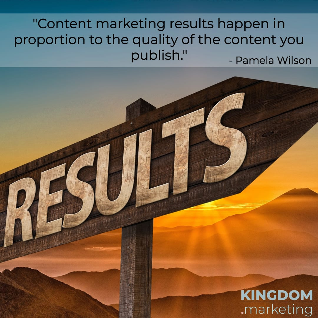 "Great quotes about writing: Pamela Wilson quote: "" Content marketing results happen in proportion to the quality of the content you publish."""