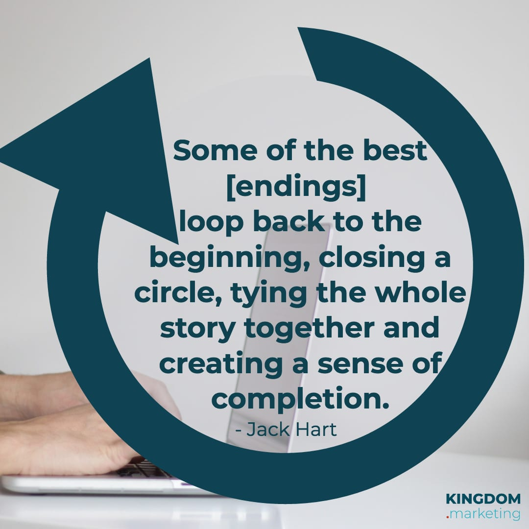 JGreat quotes about writing: Jack Hart quote: Some of the best endings loop back to the beginning, closing a circle, typing the whole story together and creating a sense of completion.