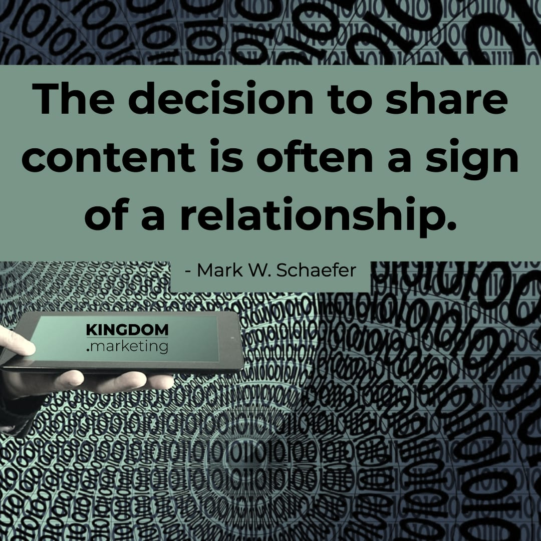 "Great quotes about writing: Mark Schaefer quote: ""The decision to share content is often a sign of a relationship."""