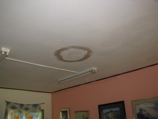 Water damage on the ceiling from a leaky roof