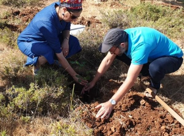 """The parents of Dvir Sorek z""""l planted trees in memory of their son, who was killed in a terror attack in 2019"""